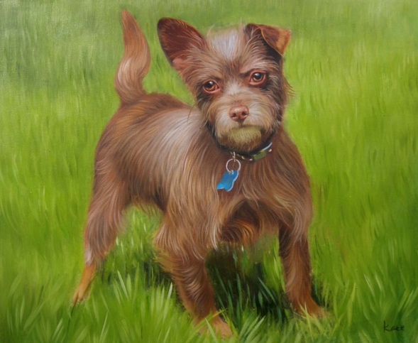 playful dog in nature oil painting