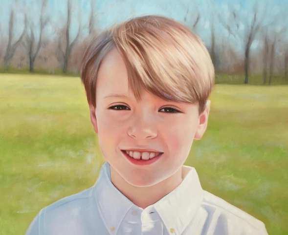 and oil painting of an young boy with green eyes