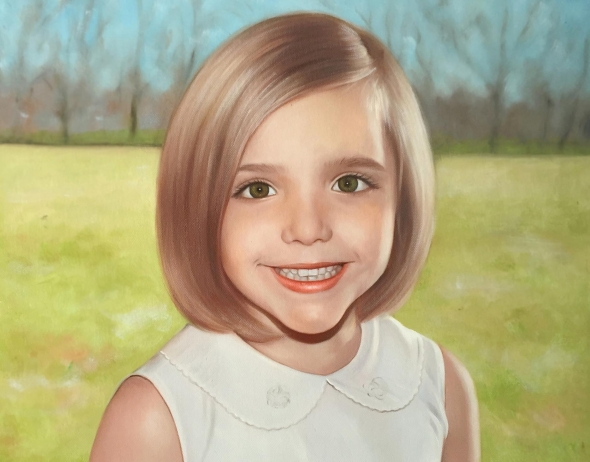 an oil painting of a little girl with green eyes