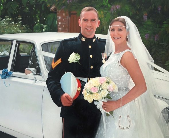a custom oil painting of a wedding couple by a white car