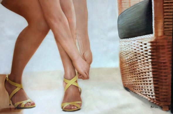 photo to oil painting of woman putting yellow heels on