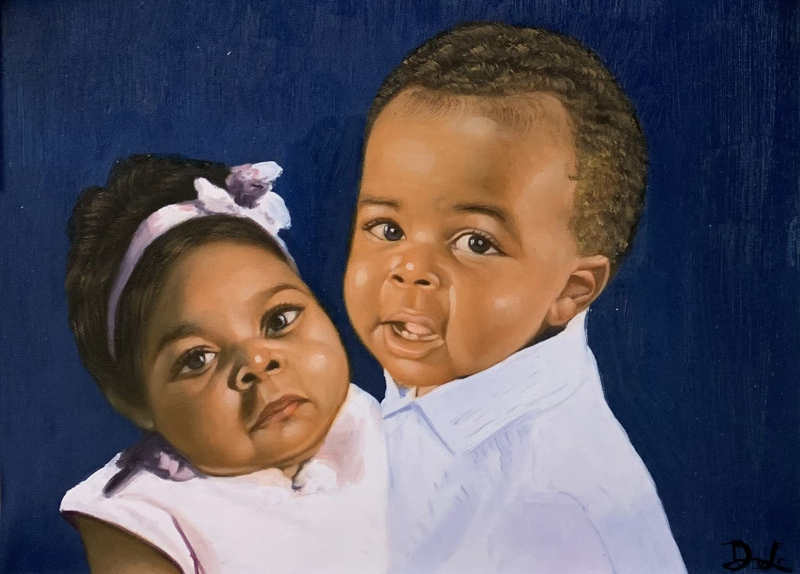 Beautiful handmade oil portrait of two children