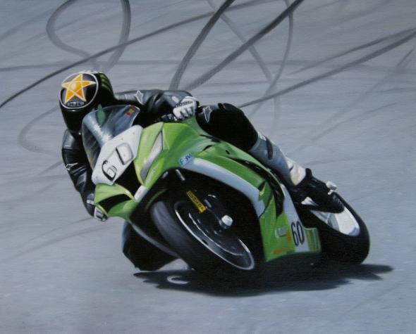 Portrait moto de courses