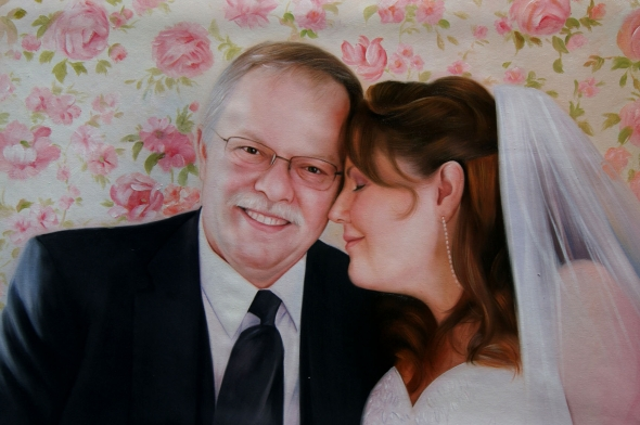 an oil painting of elder couple wedding