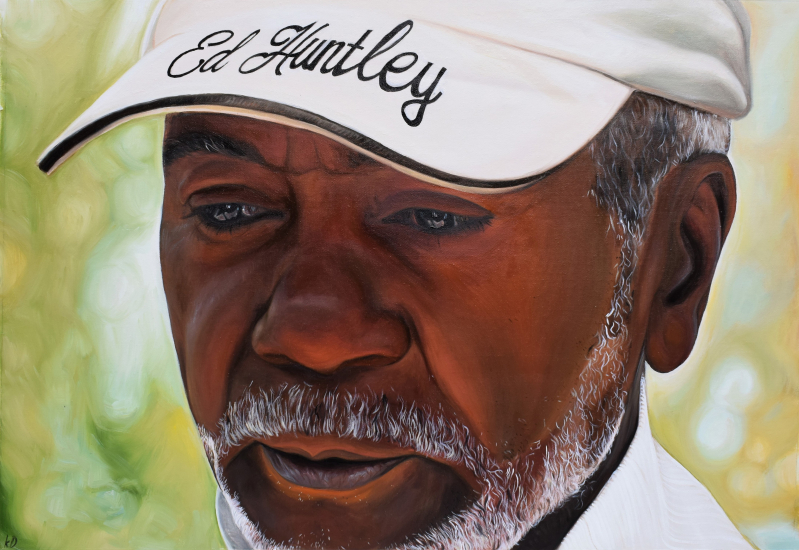 a custom oil painting of a black man wearing a hat