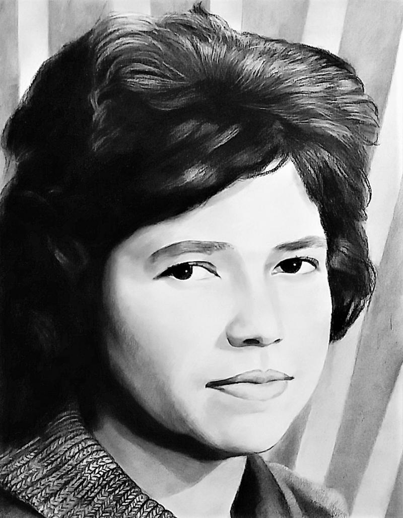 Charcoal close-up  portrait of a woman