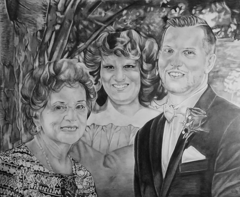 Custom black pencil painting of a happy family