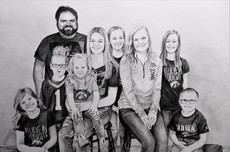Beautiful black pencil drawing of a happy family