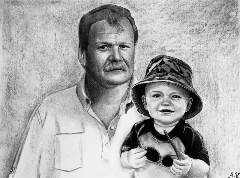 Custom charcoal drawing of a grandfather with a grandchild
