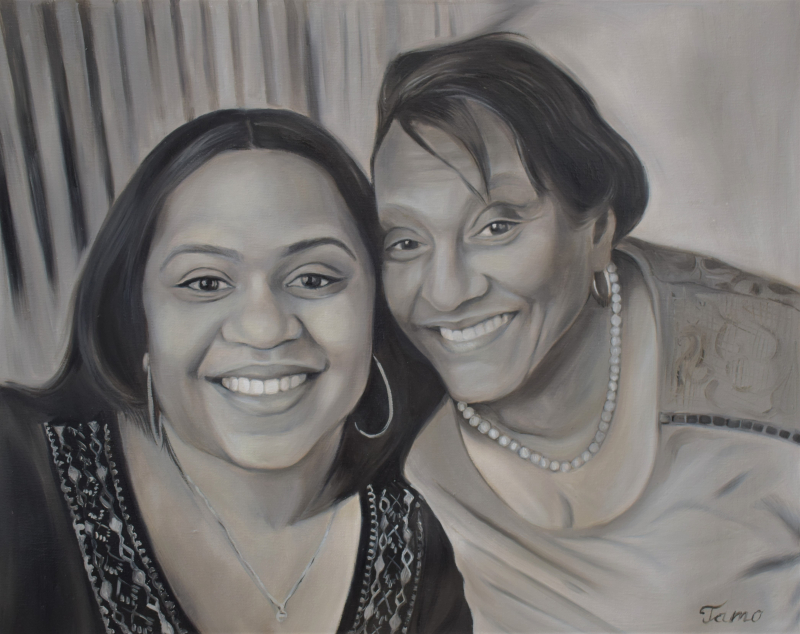 Beautiful hand drawn oil painting of a mother and a daughter
