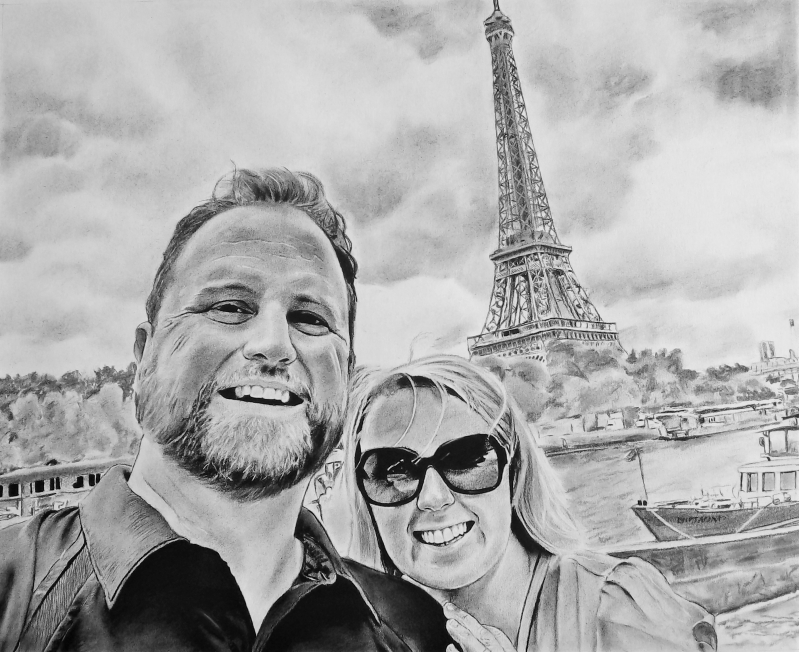 Beautiful charcoal drawing of a couple in Paris