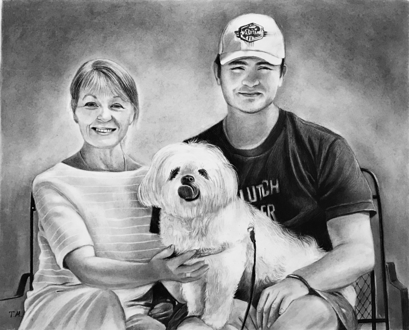 Beautiful charcoal drawing of a family with a dog