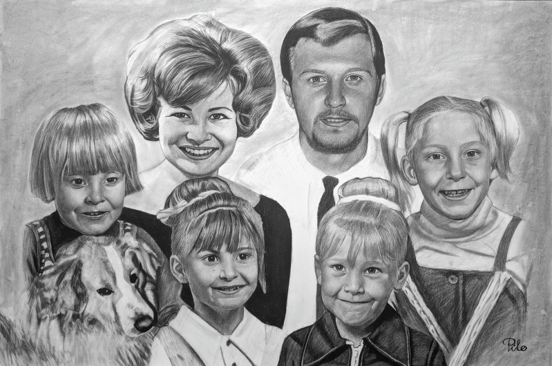 Beautiful charcoal drawing of a happy family with a dog