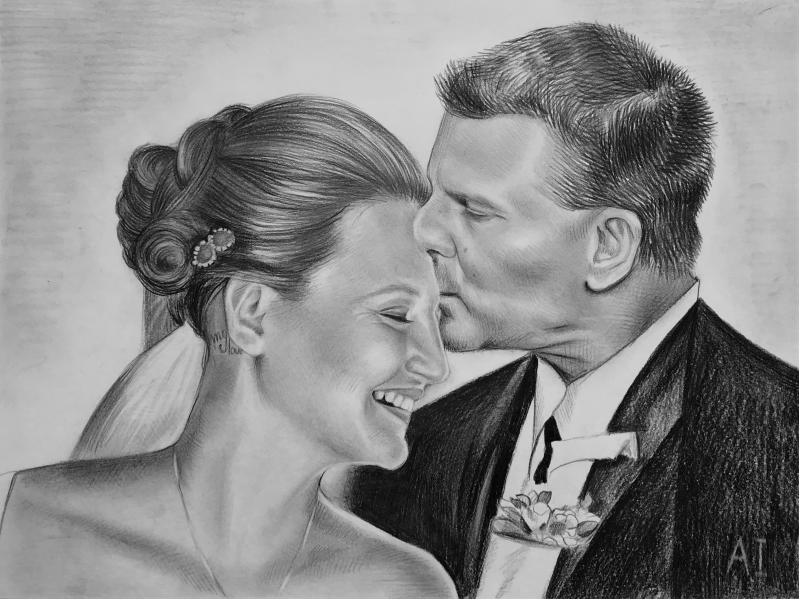 Gorgeous black pencil drawing of a parent with the bride