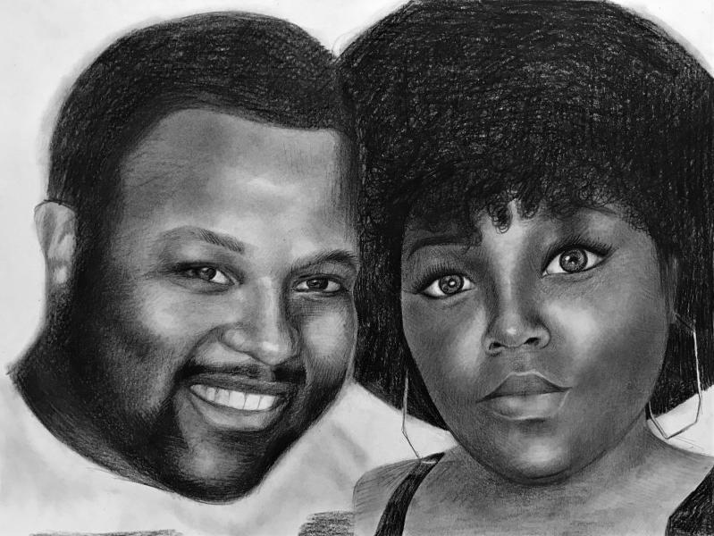 Custom handmade black pencil drawing of a loving couple