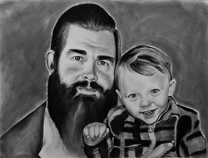 Beautiful charcoal drawing of a father and son