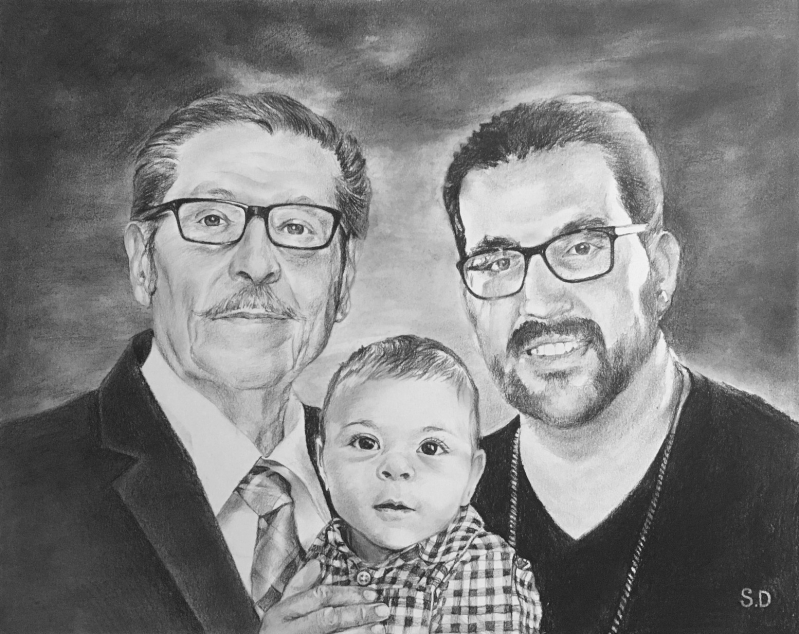 Beautiful charcoal drawing of two adults with a baby