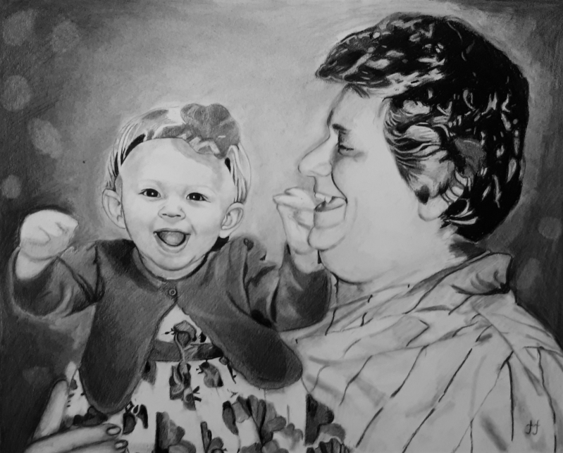 Custom charcoal drawing of a lady with a baby