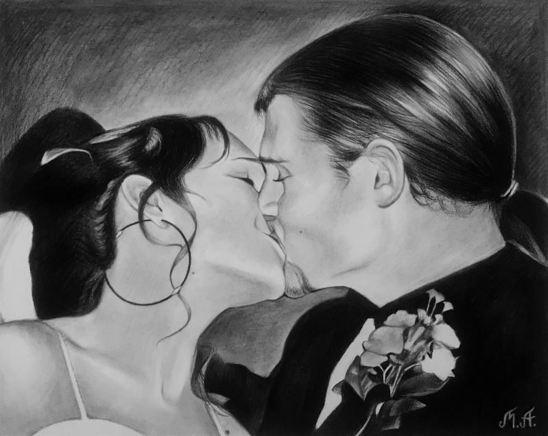 Gorgeous charcoal drawing of a kissing couple