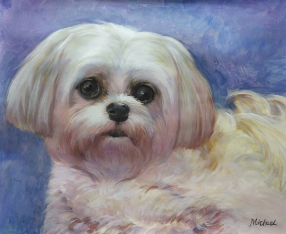 custom watercolor painting of white Maltese
