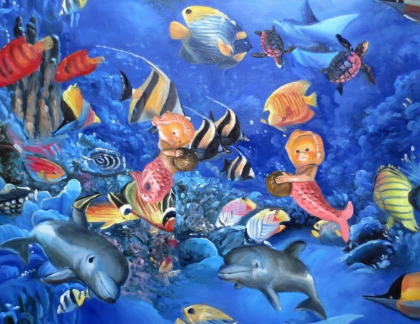 oil painting of the underwater world