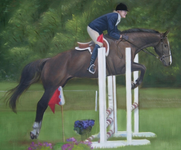 Handmade oil painting of oa horse jumping above obstacle