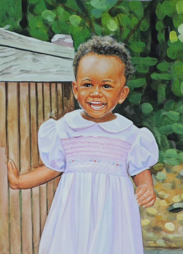 custom watercolor painting of a baby girl playing outside