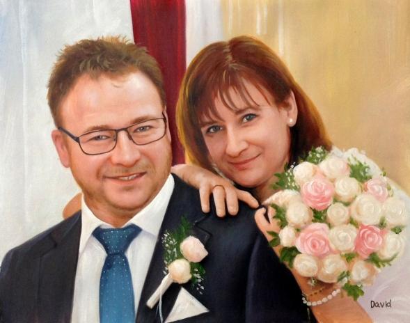 Hochzeitsfoto gemalt in Öl