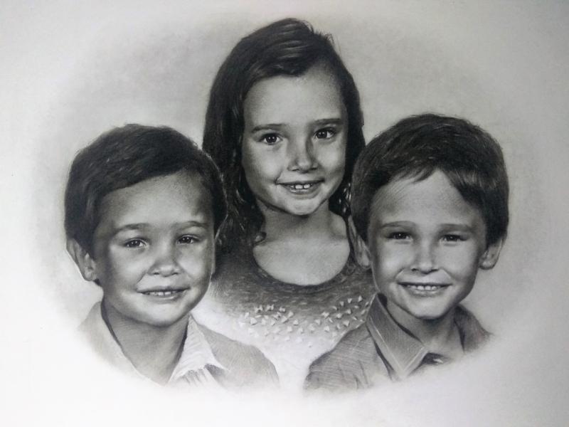 charcoal portrait of cute kids