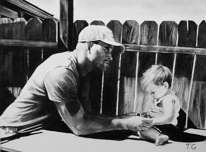 Peinture personnalisé Papa enfant