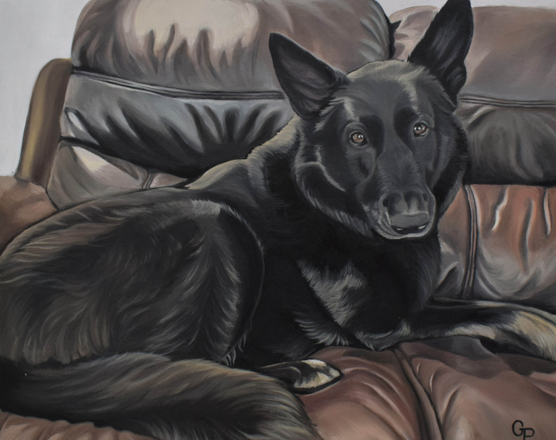 handmade oil portraot of black shepherd on couch