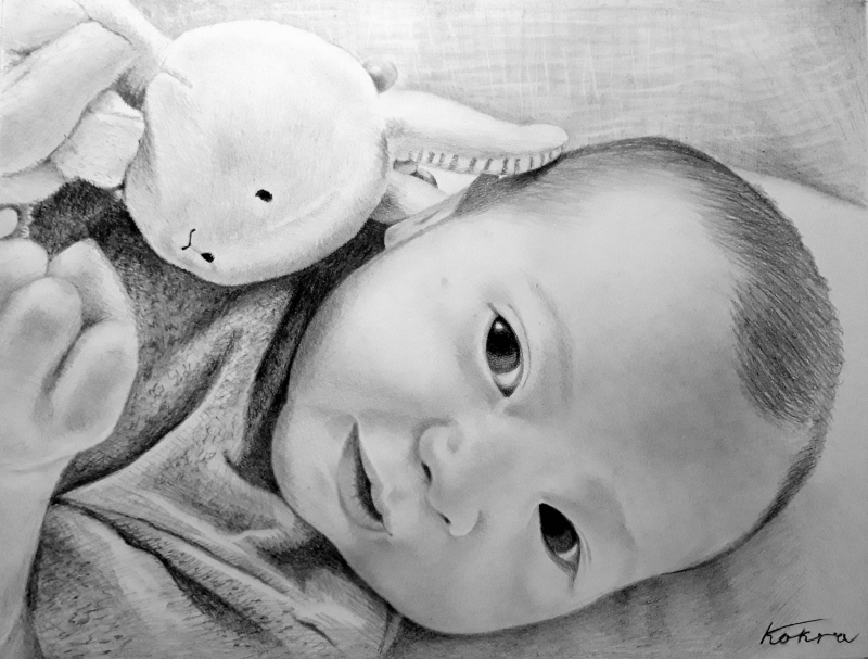 Beautiful black pencil drawing of a baby