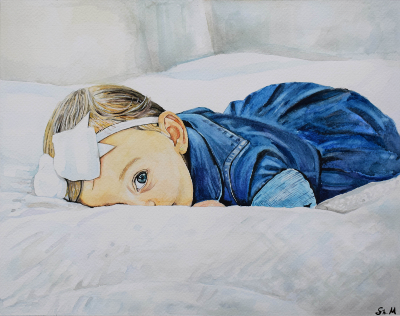 Beautiful watercolor painting of a baby girl