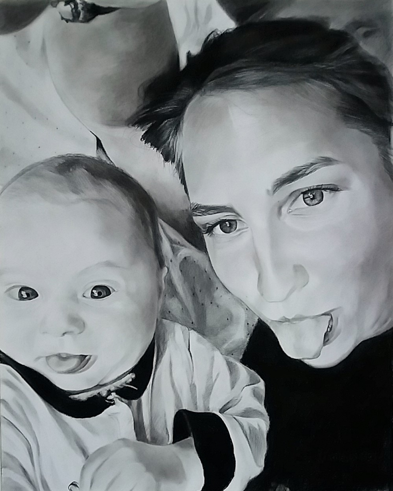 photo to realistic charcoal drawing of mom and baby