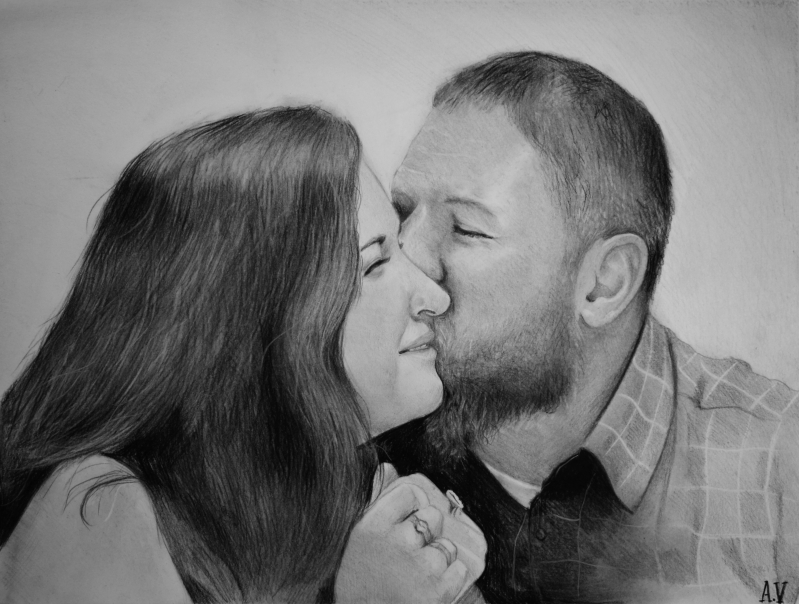 custom charcoal drawing of a couple man kissing girls cheek