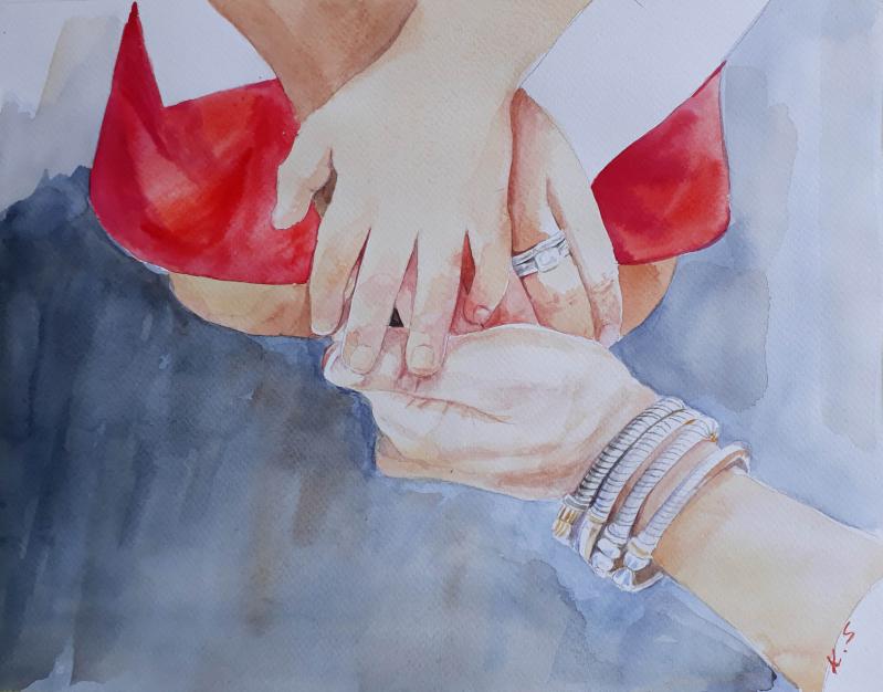 Custom handmade watercolor painting