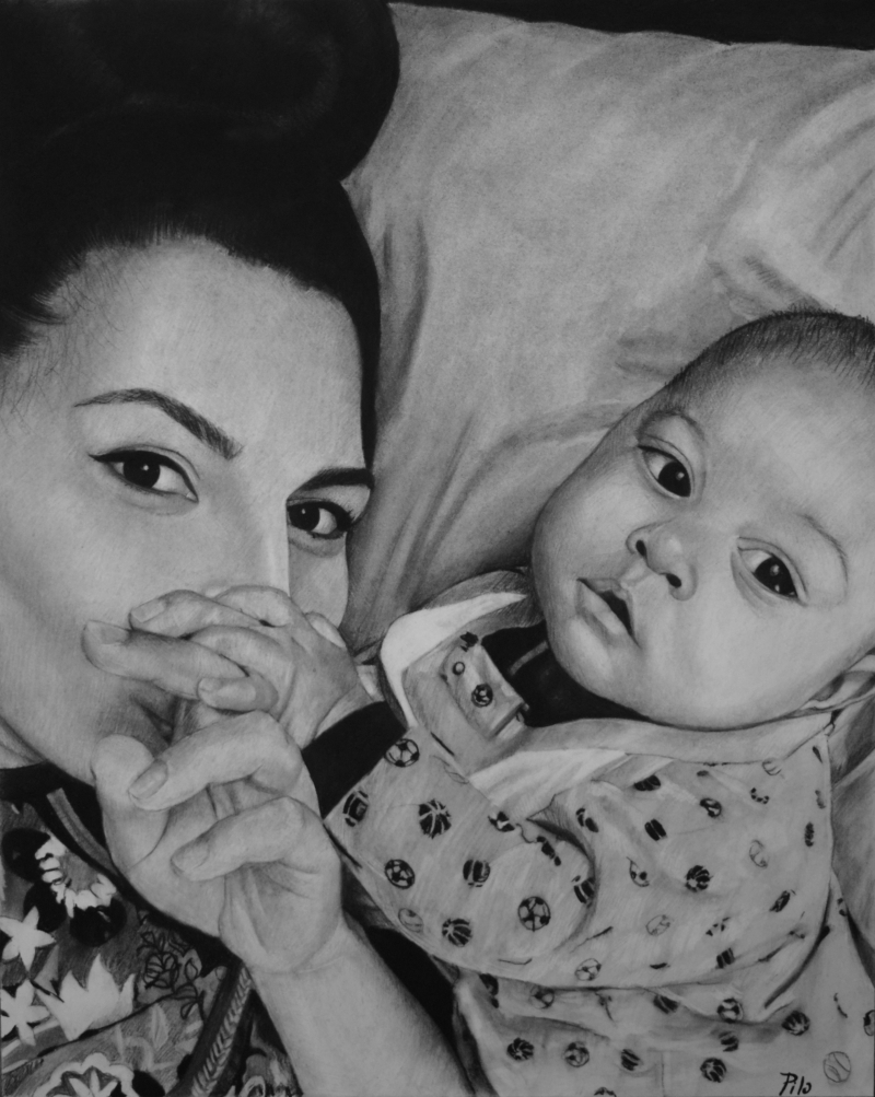 Beautiful charcoal drawing of a mother and child