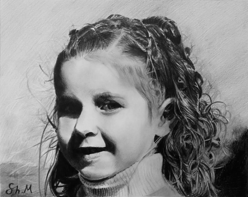 Beautiful black pencil drawing of a girl