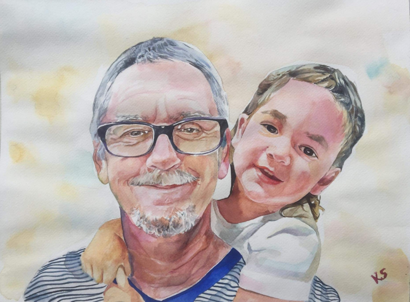 Beautiful watercolor painting of a grandfather and a child