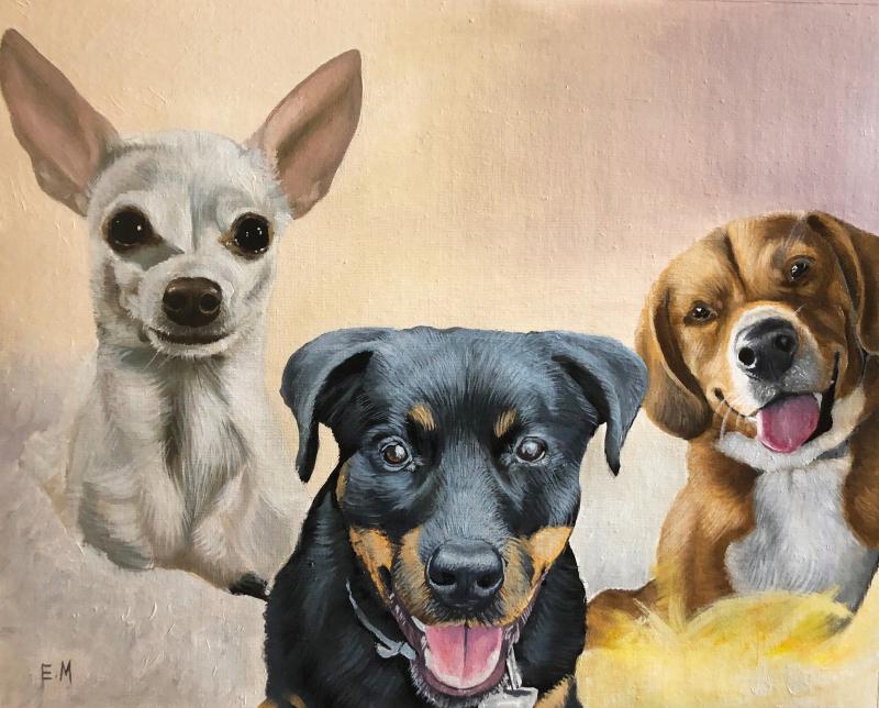 Custom handmade oil painting of three dogs