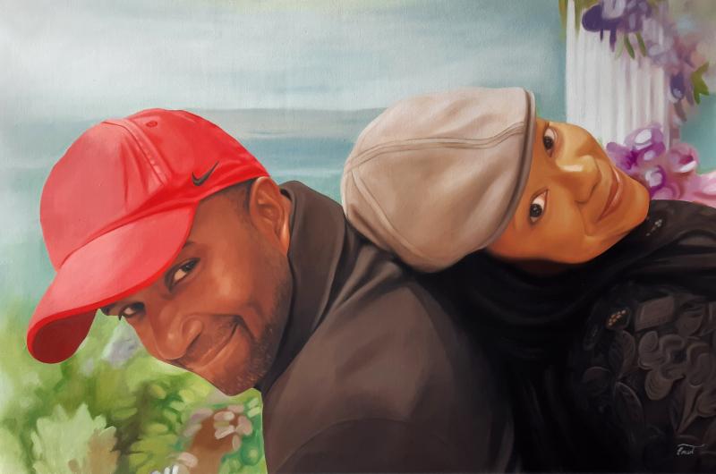 Beautiful oil artwork of a loving couple