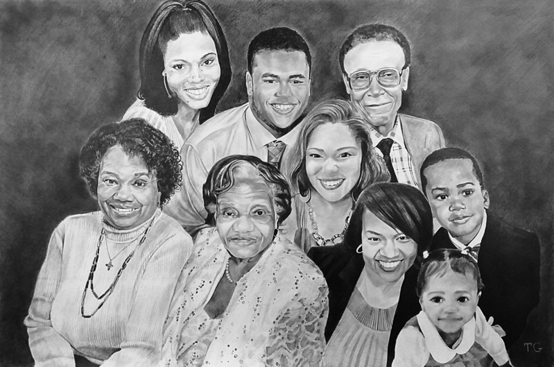 Gorgeous black pencil painting of a family