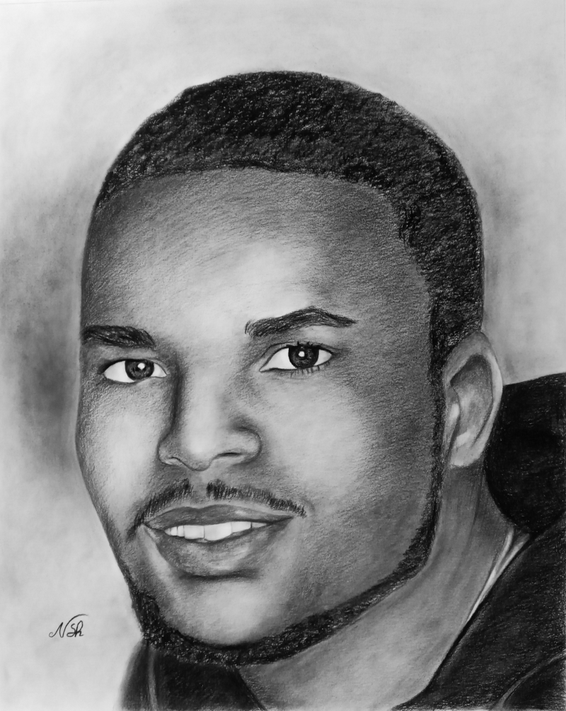Custom charcoal portrait of a man