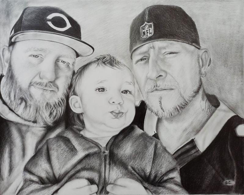Beautiful handmade black pencil artwork of three people