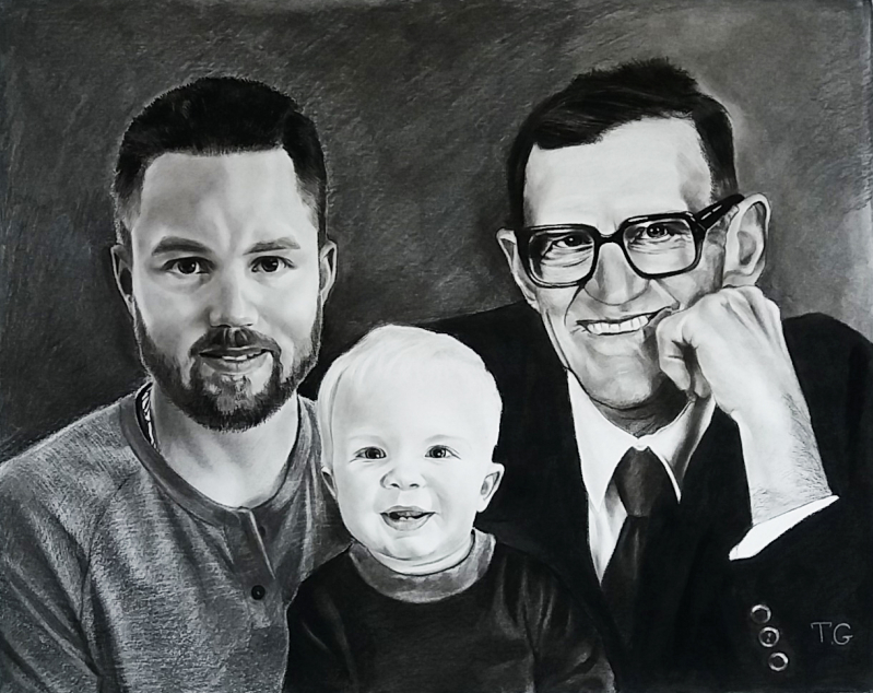 Beautiful charcoal painting of the two adults and a baby