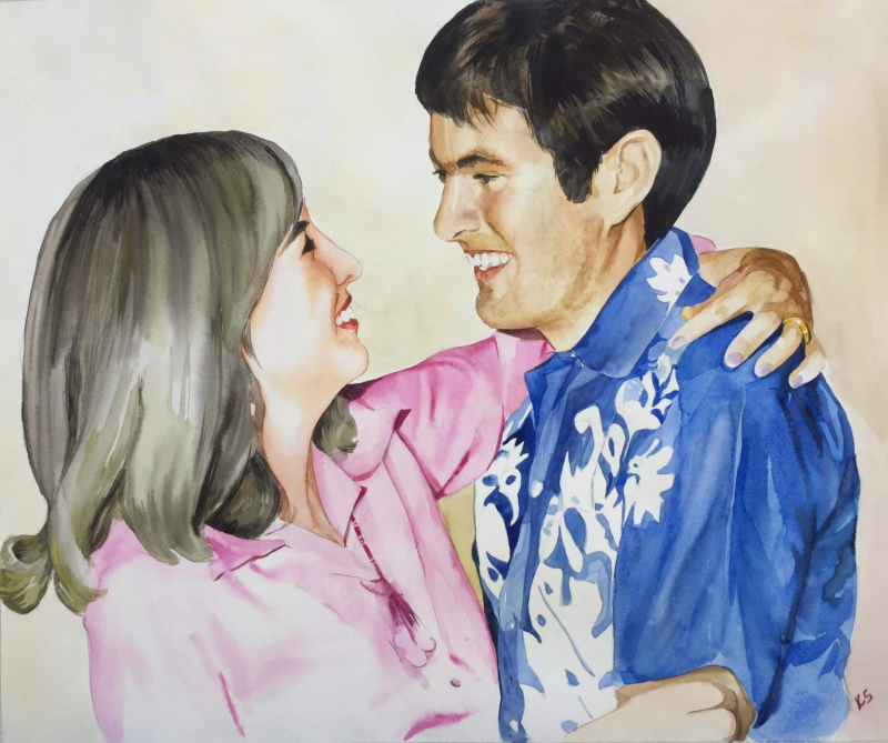 Beautiful watercolor painting of a loving couple