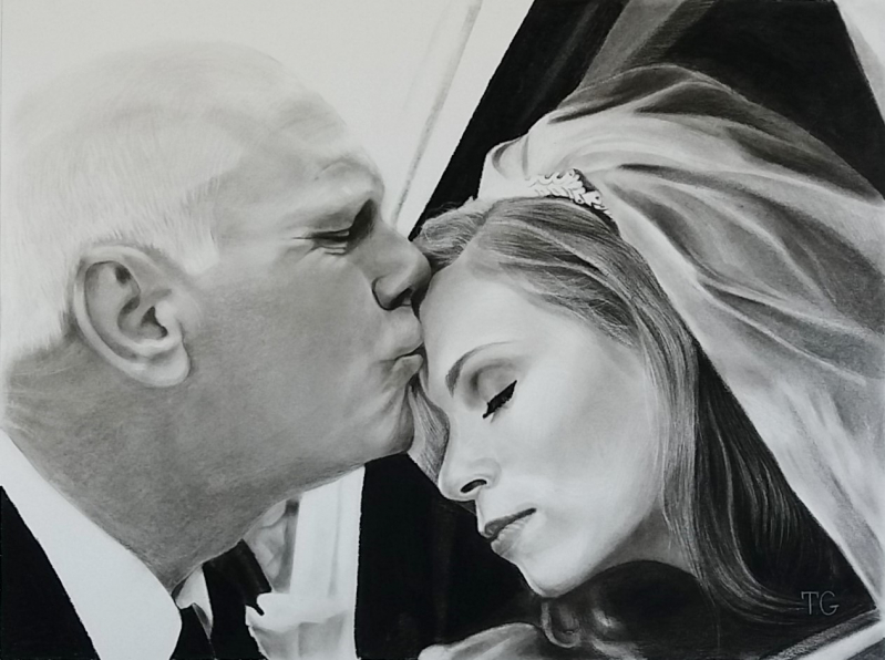 Gorgeous charcoal painting of a bride with father