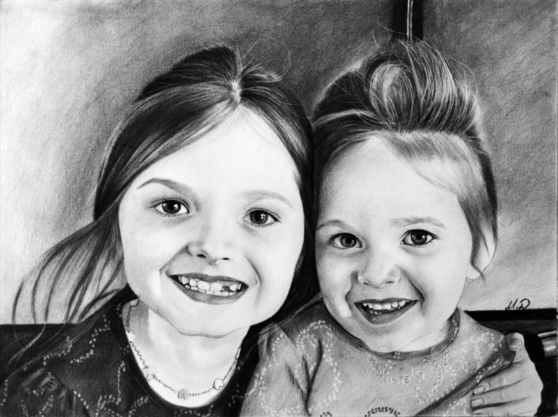 Personalized charcoal painting of two kids