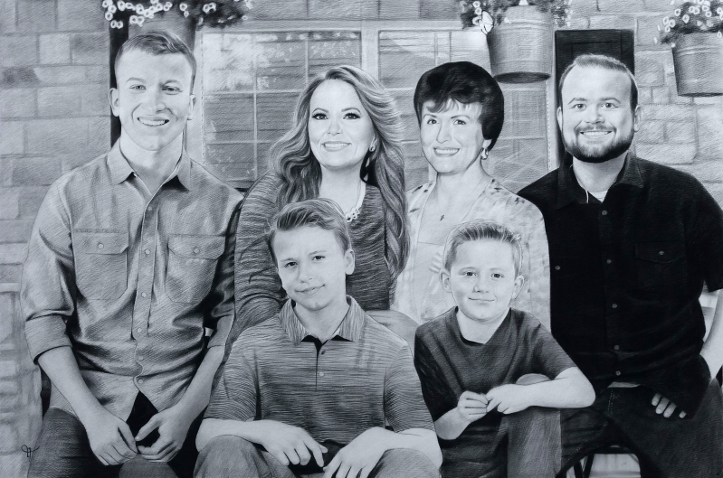 Gorgeous charcoal painting of a happy family