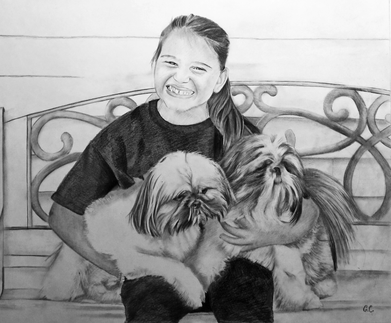 Beautiful black pencil painting of a girl with two dogs